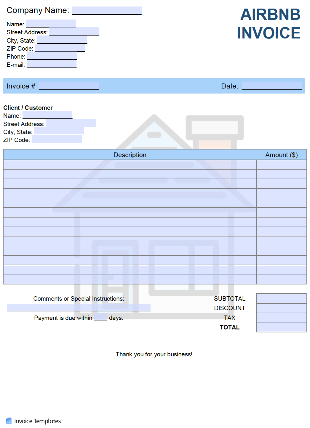 Free Airbnb Invoice Template Pdf Word Excel