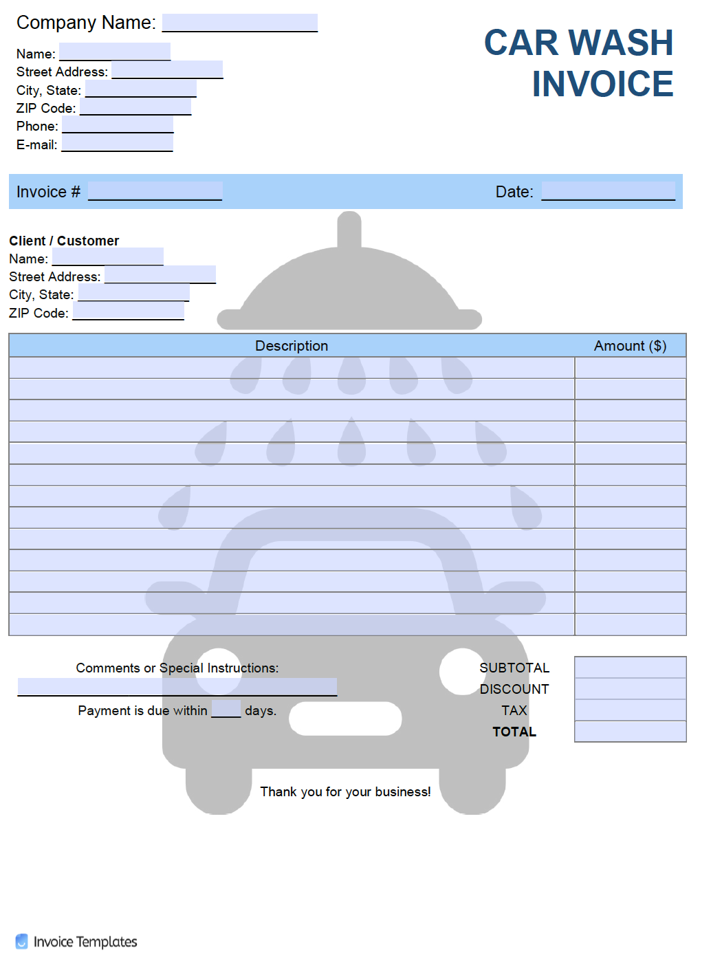 Free Car Wash Invoice Template Pdf Word Excel