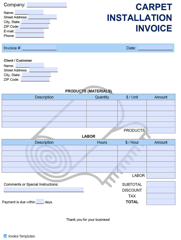 free carpet installation invoice template