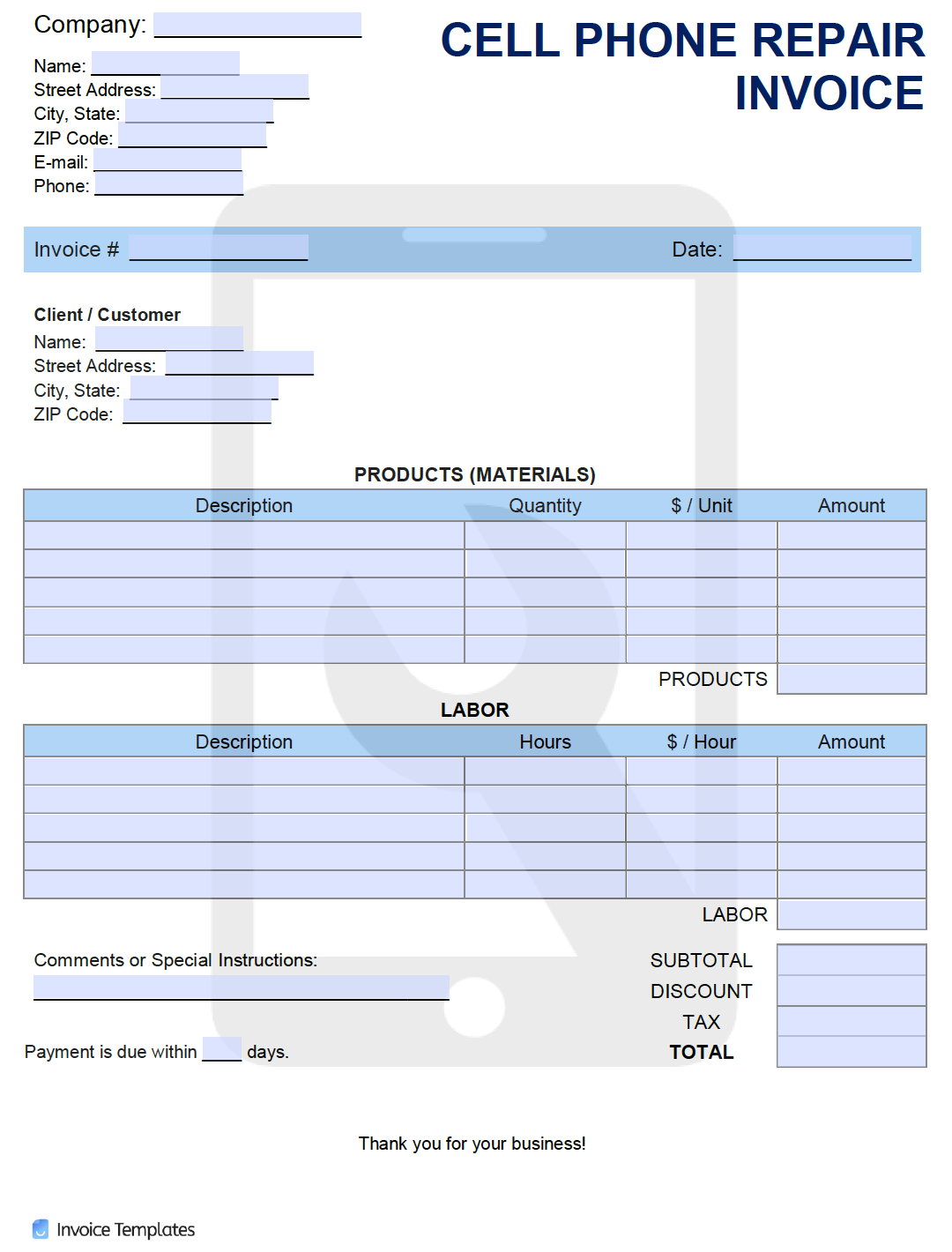 Free Cell Phone Repair Invoice Template Pdf Word Excel