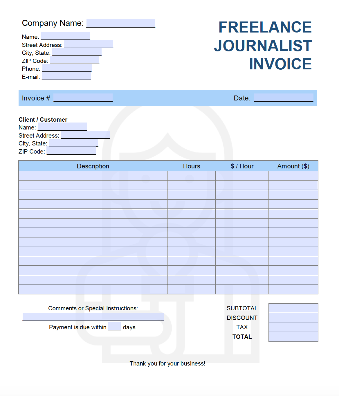Free Freelance Journalist Invoice Template Pdf Word Excel