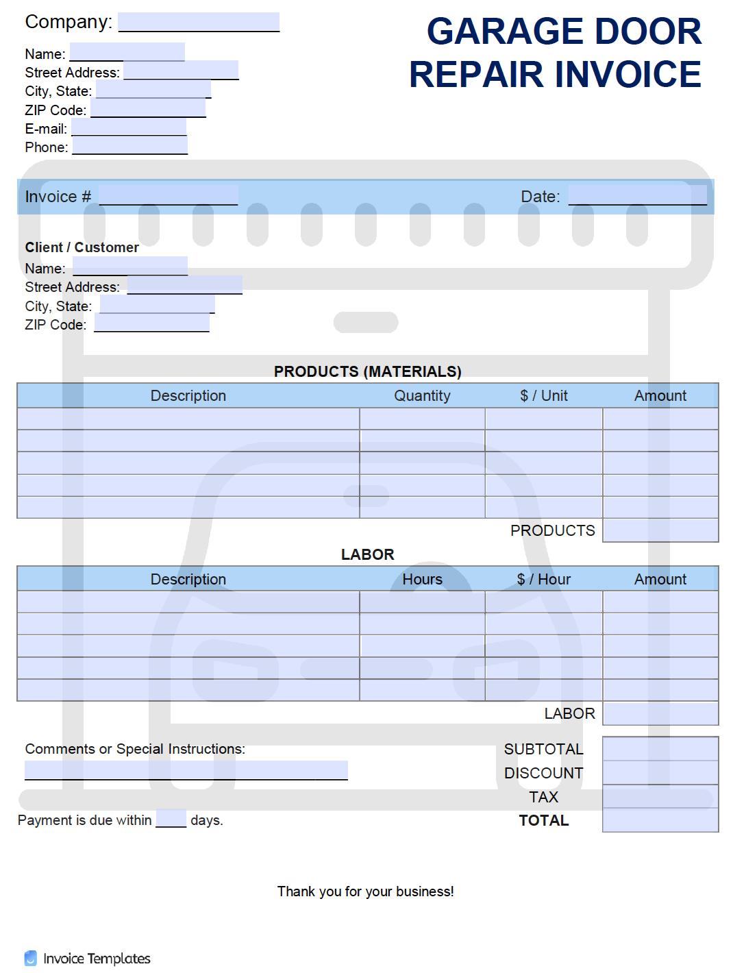 Free Garage Door Repair Invoice Template | PDF | WORD | EXCEL