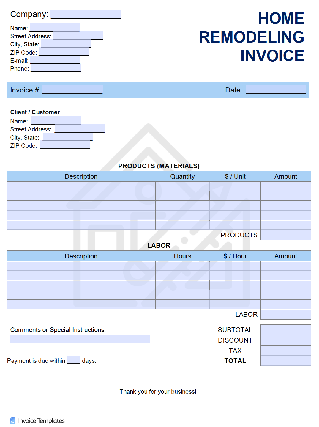 Free Home Remodeling Invoice Template Pdf Word Excel
