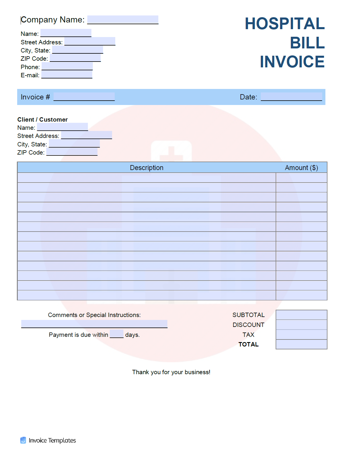 Free Hospital Bill Invoice Template   PDF   WORD   EXCEL
