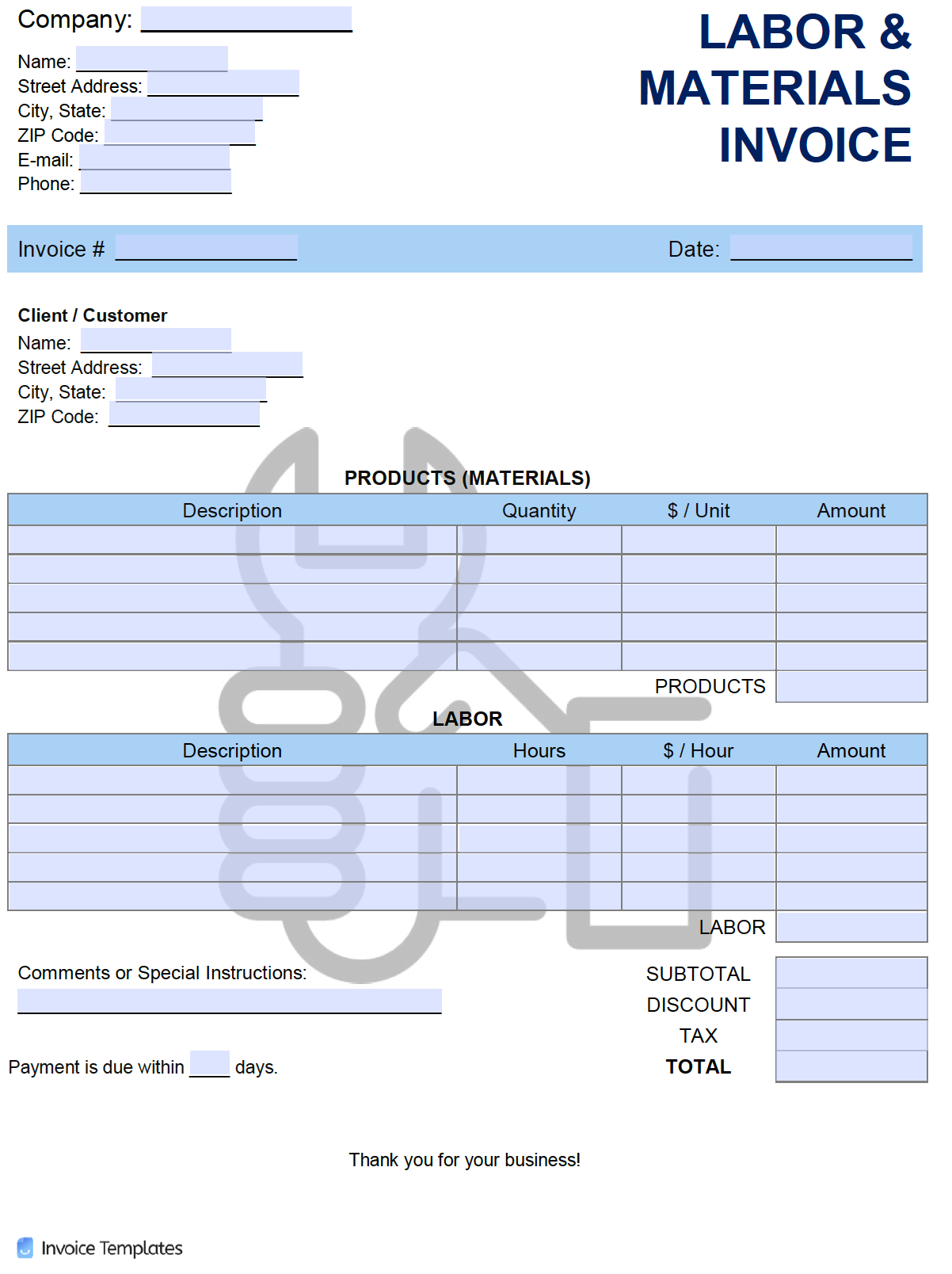 Free Labor And Materials Invoice Template Pdf Word Excel
