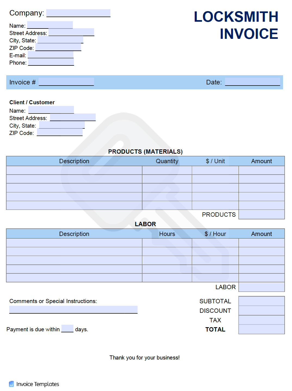 Free Locksmith Invoice Template Pdf Word Excel