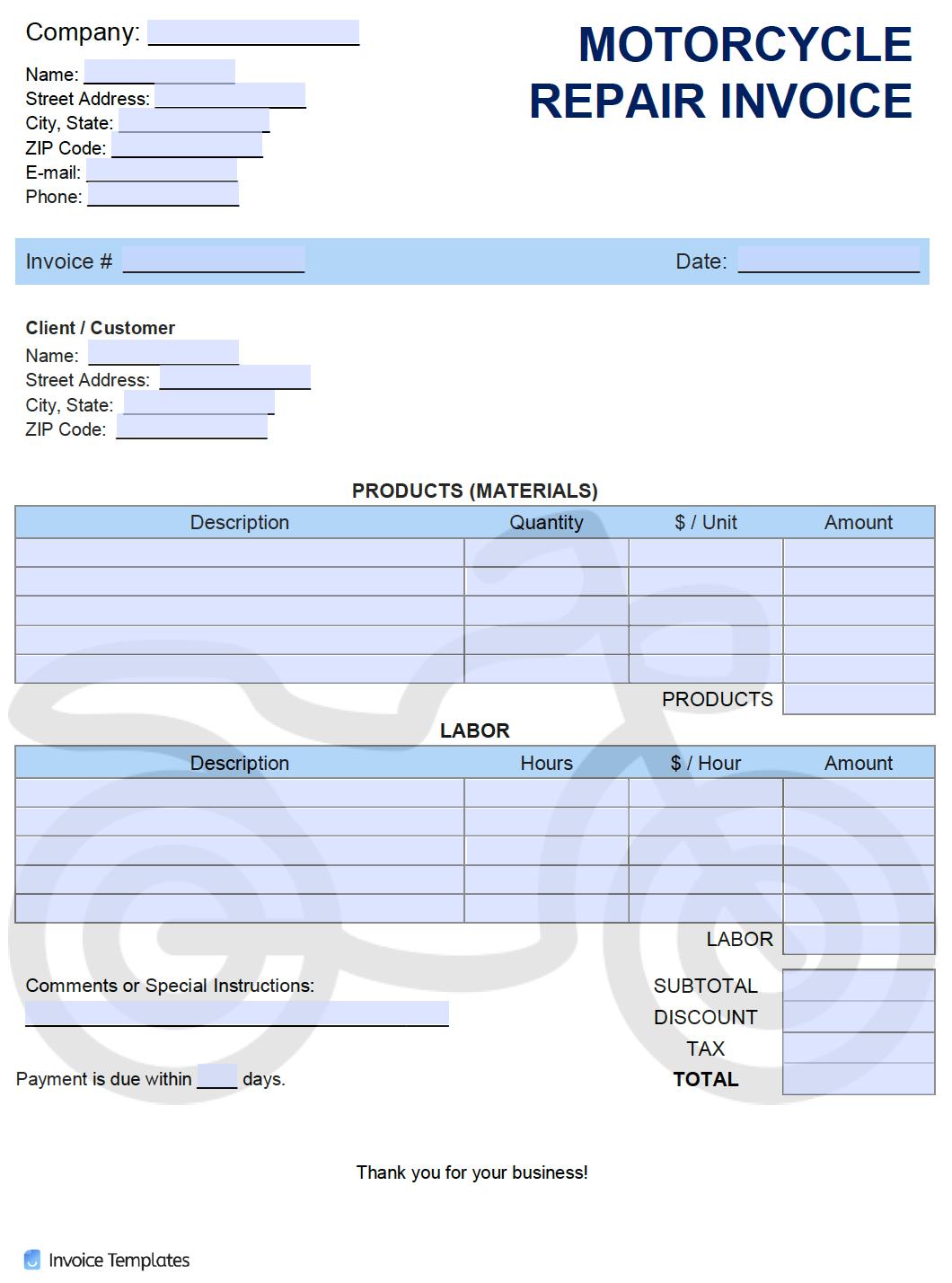 Free Motorcycle Repair Invoice Template Pdf Word Excel