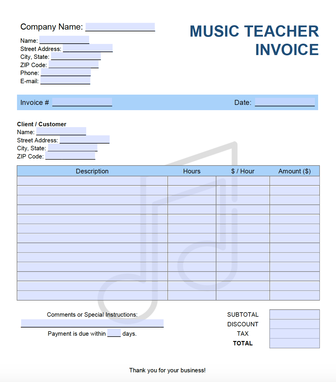 Free Music Teacher Lesson Invoice Template Pdf Word Excel