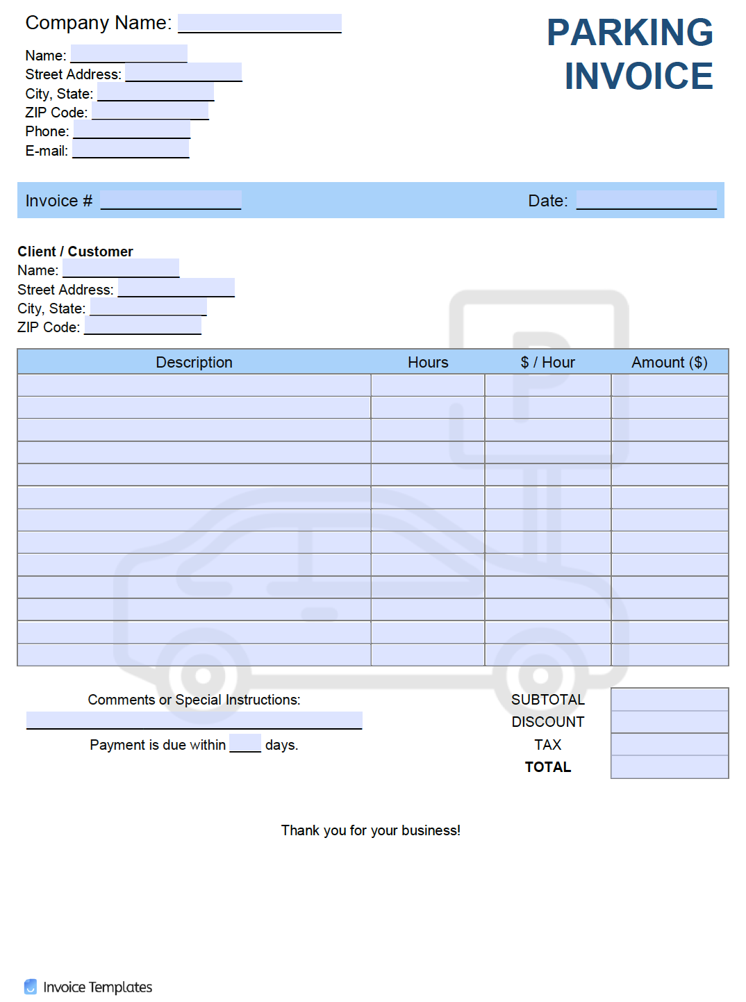 Free Parking Invoice Template Pdf Word Excel