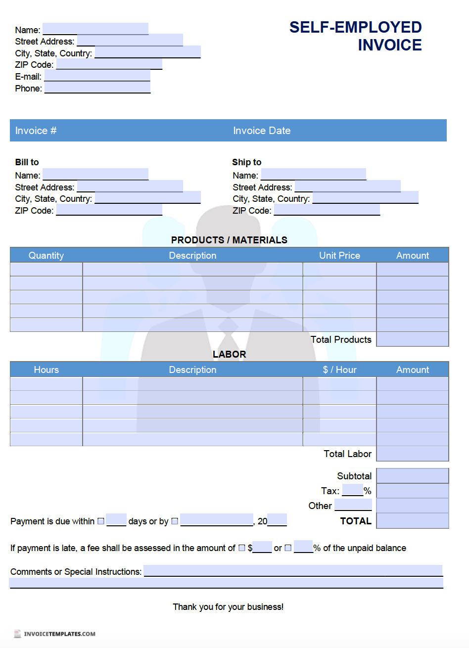 Free Self Employed Invoice Template Pdf Word Excel