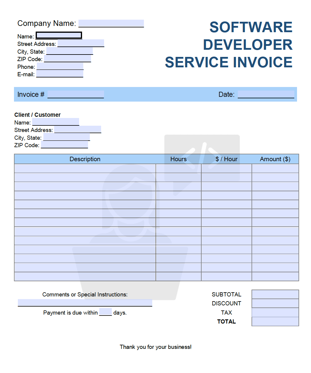 Free Software Developer Service Invoice Template Pdf Word Excel