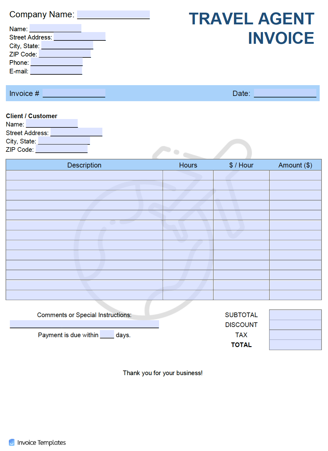 Free Travel Agent Invoice Template Pdf Word Excel