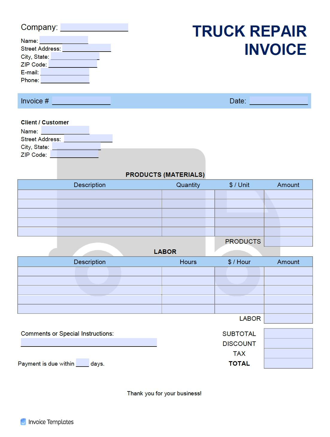 Free Truck Repair Invoice Template Pdf Word Excel