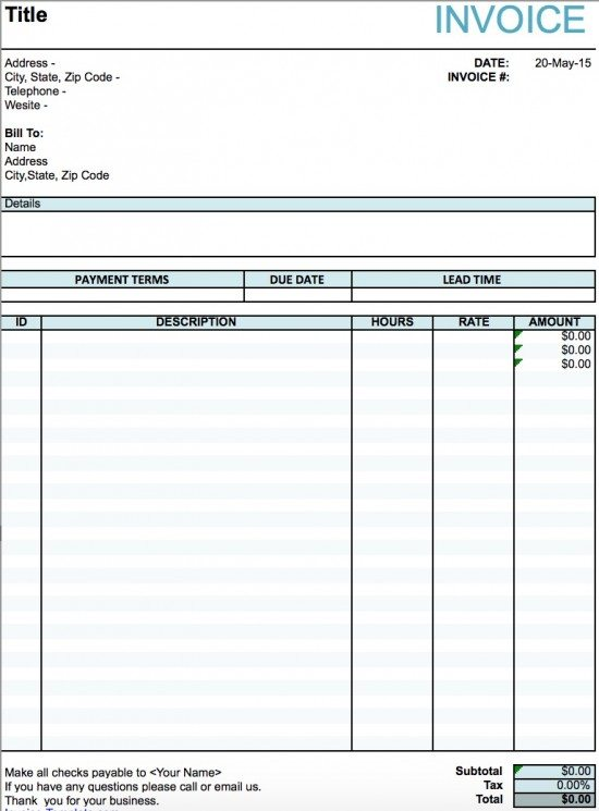 Delightful Artist Invoice Template Excel Pertaining To Musician Invoice Template