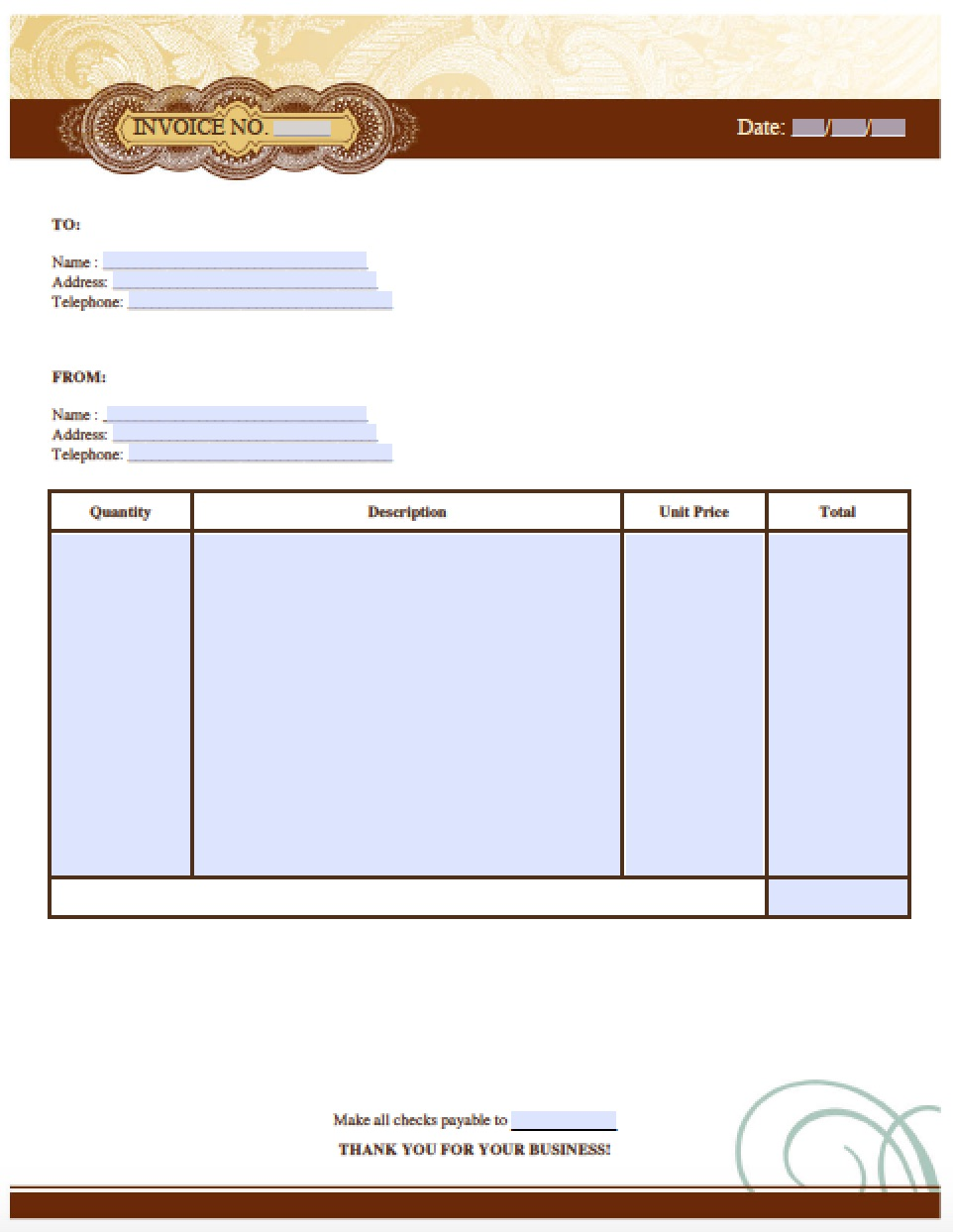 Free Blank Invoice Templates In PDF, Word, U0026 Excel  How To Make A Invoice Template In Word
