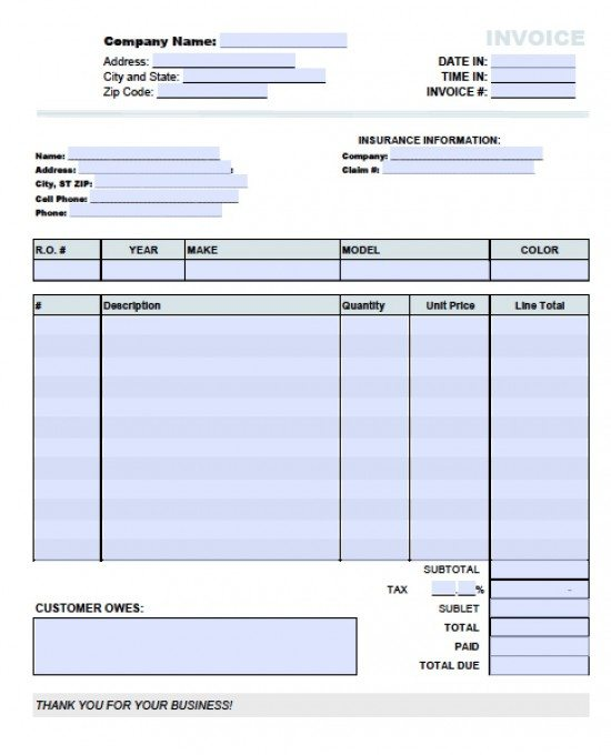 Free Auto Body Repair Invoice Template  Excel  Pdf  Word Doc