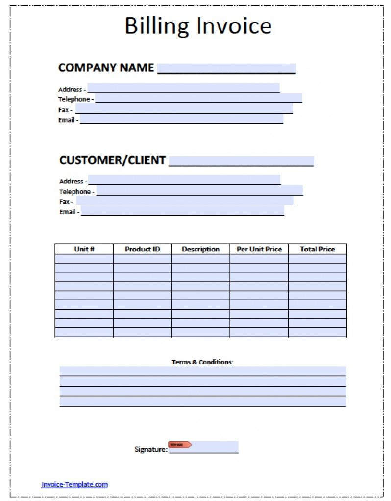 Free Billing Invoice Template Excel Pdf Word C