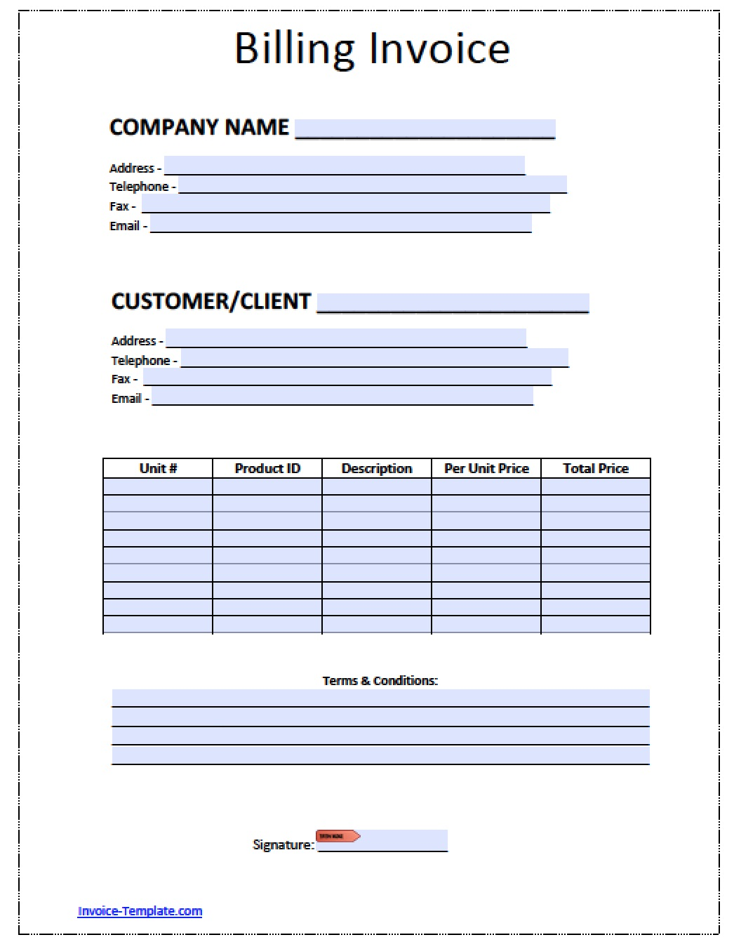 Billing Invoice Template Word Pdf  Customer Invoice Template Excel