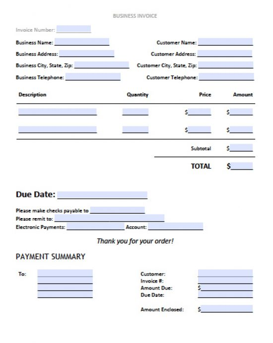 Free Business Invoice Template Excel PDF Word Doc - Business invoice template excel
