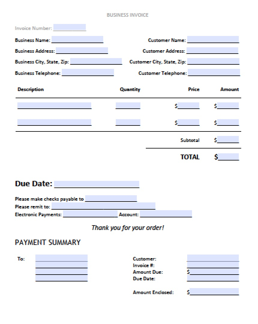 Wonderful Free Blank Invoice Templates In PDF, Word, U0026 Excel  Business Receipt Template Word