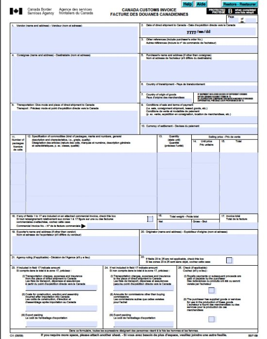 Perfect Canada Customs Border Invoice Template Form Ci1 Intended For Invoice Template Canada
