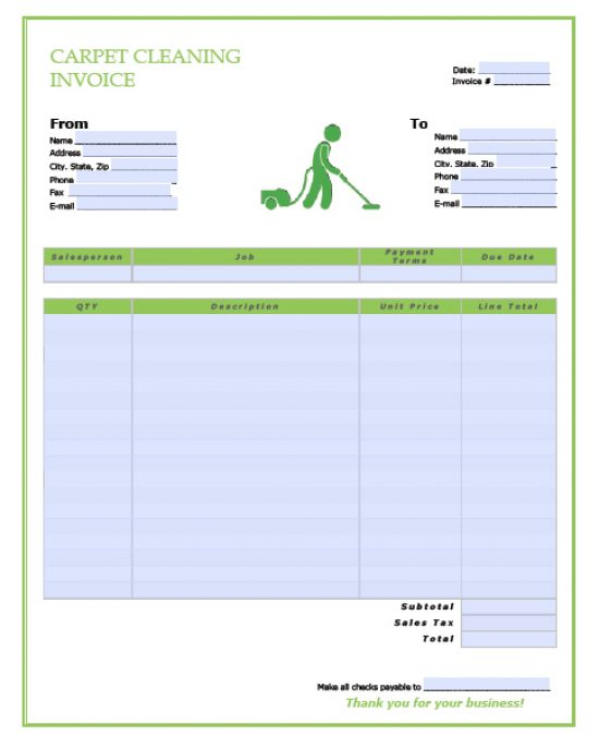 Free Carpet Cleaning Service Invoice Template Excel PDF Word - Free word document invoice template for service business