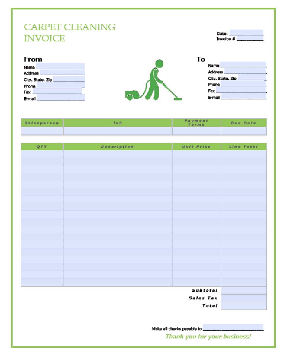 free carpet cleaning service invoice template