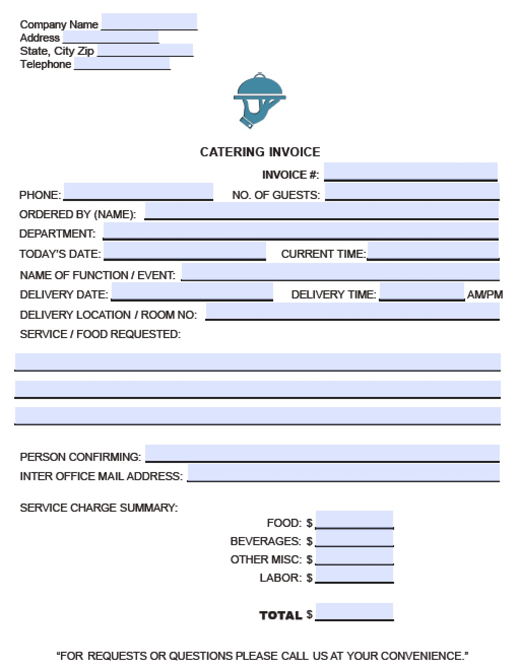 Free Catering Service Invoice Template Excel PDF Word Doc - Invoices template free for service business