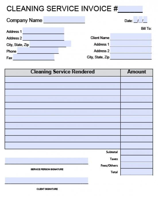 Free House Cleaning Service Invoice Template Excel PDF – Receipt for Services Template