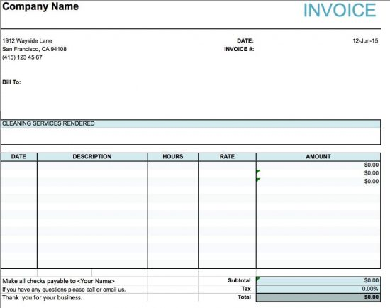 Free House Cleaning Service Invoice Template Excel PDF Word - Free invoice creator for service business