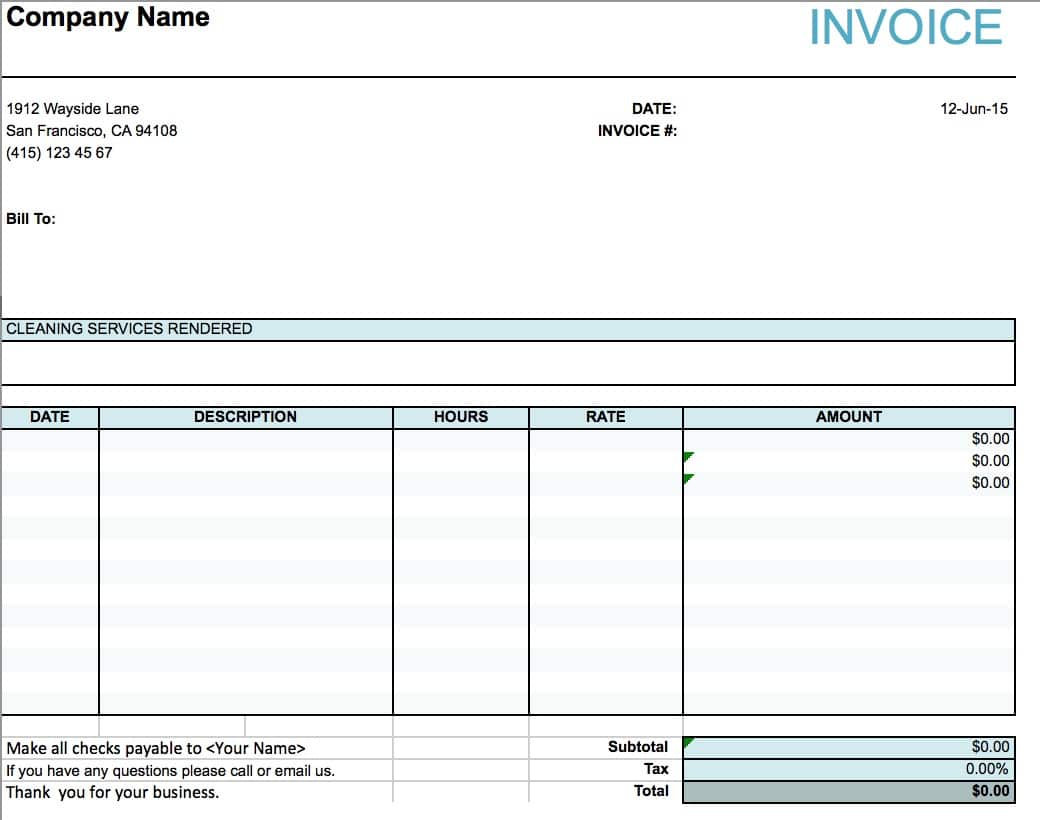 free house cleaning service invoice template excel pdf word