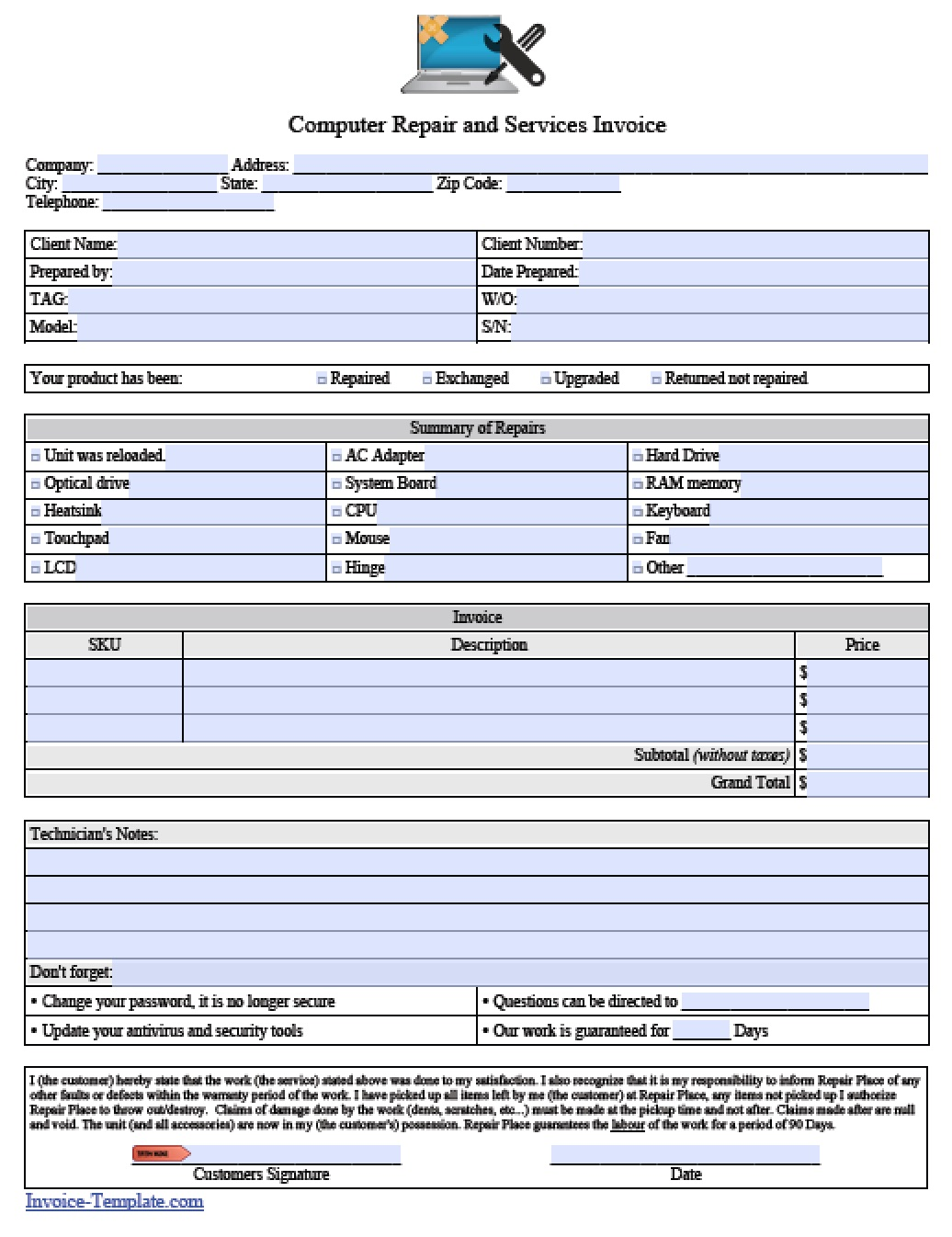 pc repair invoice template  Free Computer Repair Service Invoice Template | Excel | PDF | Word ...
