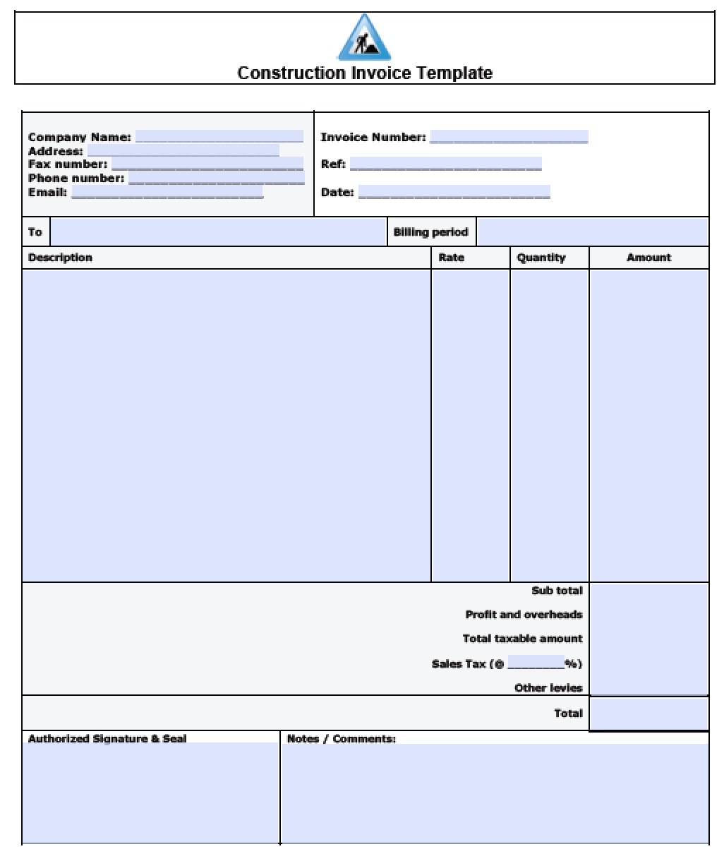 carpenter invoice template word  Free Construction Invoice Template | Excel | PDF | Word (.doc)