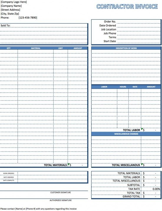 Free Contractor Invoice Template Excel PDF Word Doc - Work hours invoice template