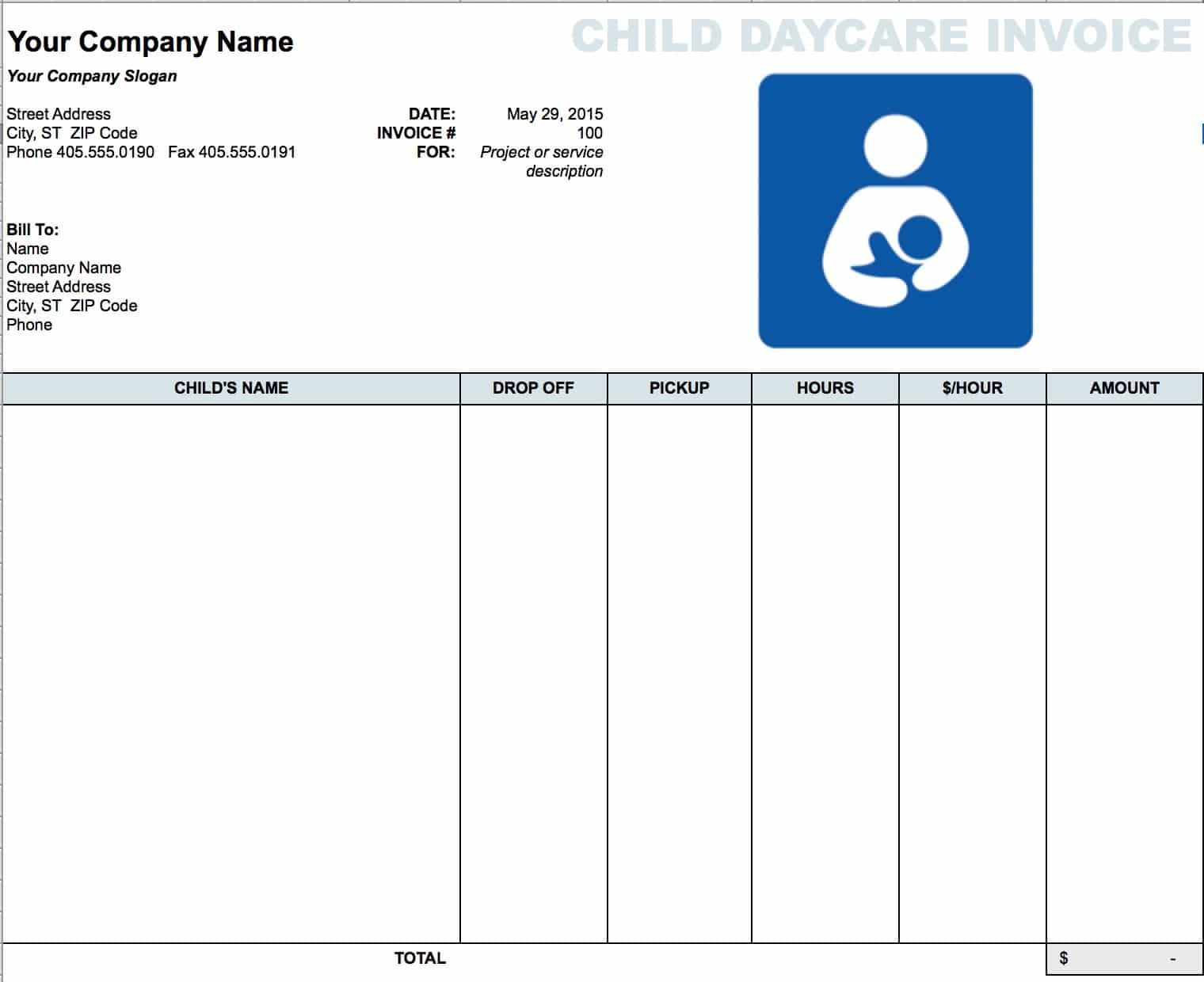 Free Daycare Child Invoice Template Excel PDF Word Doc - Sample billing invoice excel for service business