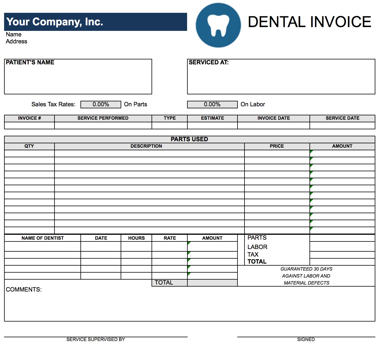 Free Dental Invoice Template Excel PDF Word Doc - Parts and labor invoice template free