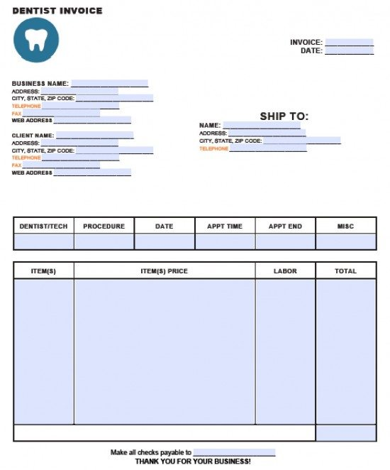 Free Dental Invoice Template Excel PDF Word Doc - Dental invoice template pdf