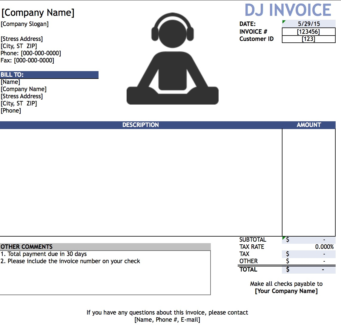 Free DJ Disc Jockey Invoice Template Excel PDF Word Doc - Sample billing invoice excel for service business