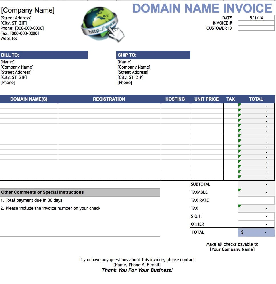 Free Domain Name Invoice Template Excel PDF Word Doc - Sales invoice template excel free download