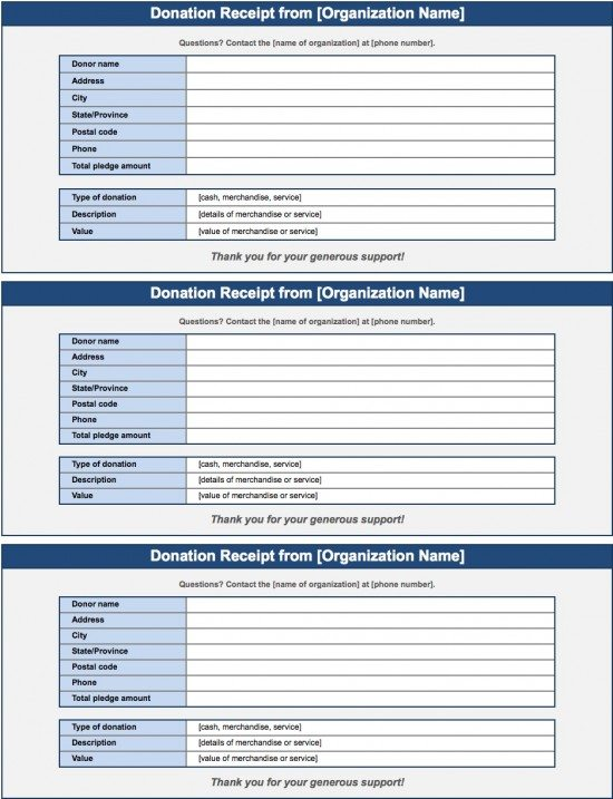 Microsoft Excel (.xls)  Donations Template