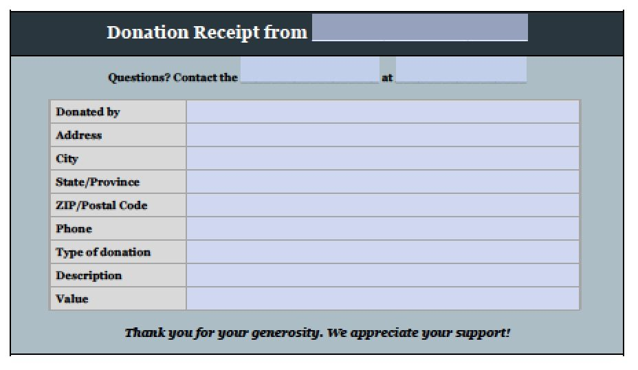 Donation Receipt Template Adobe Pdf Microsoft Word  Donations Template