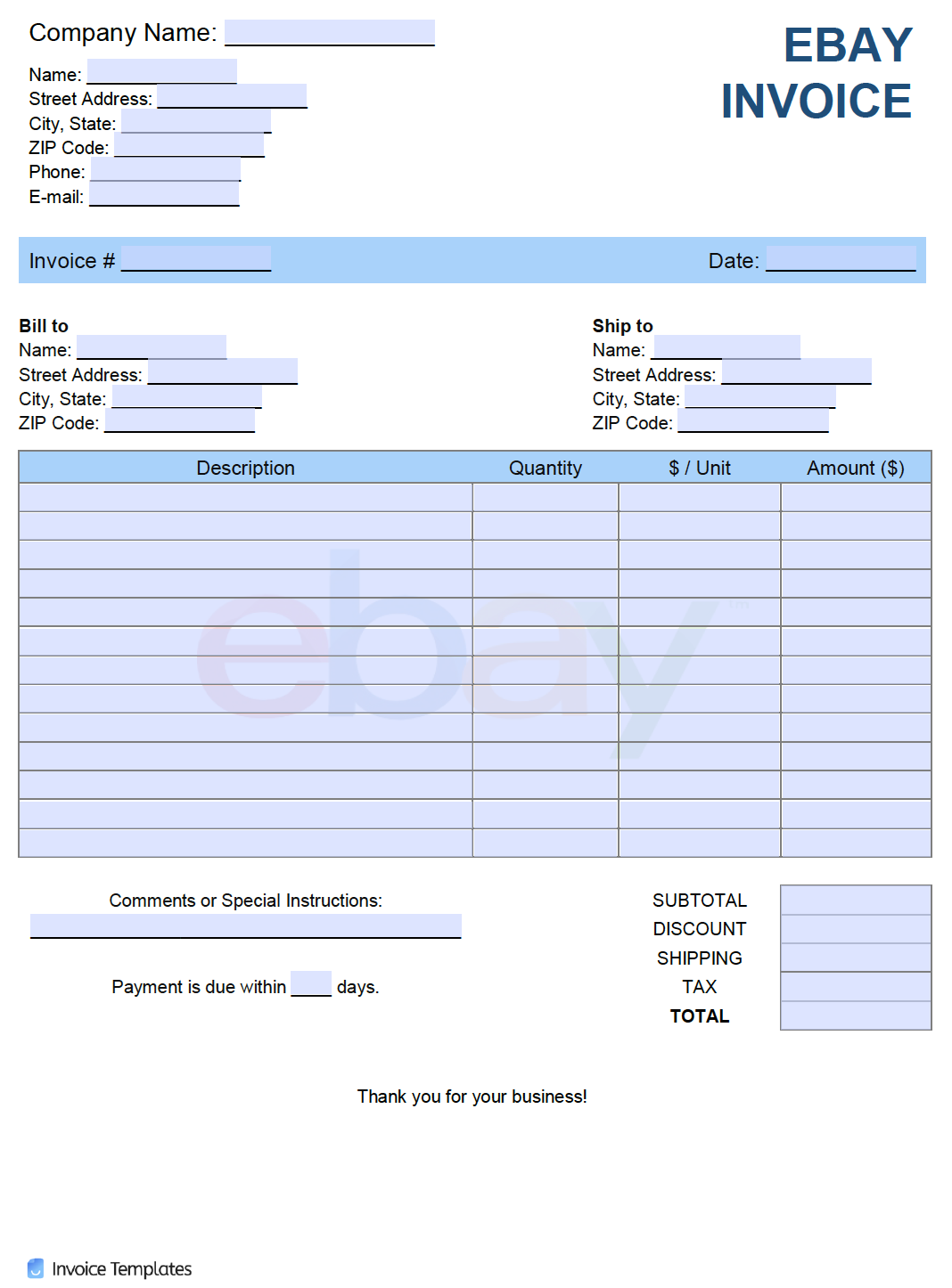 Free Ebay Invoice Template Pdf Word Excel