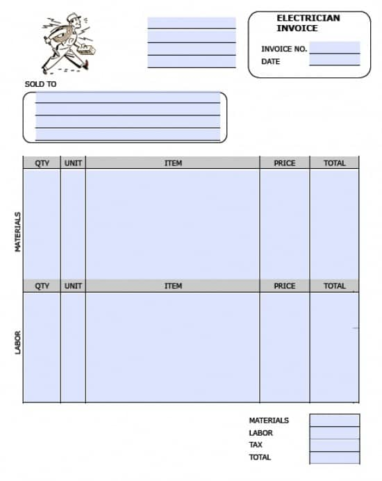 electrical work invoice template  Free Electrician Invoice Template   Excel   PDF   Word (.doc)