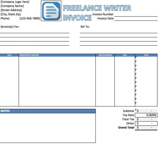 Free Freelance Writer Invoice Template  Excel  Pdf  Word Doc