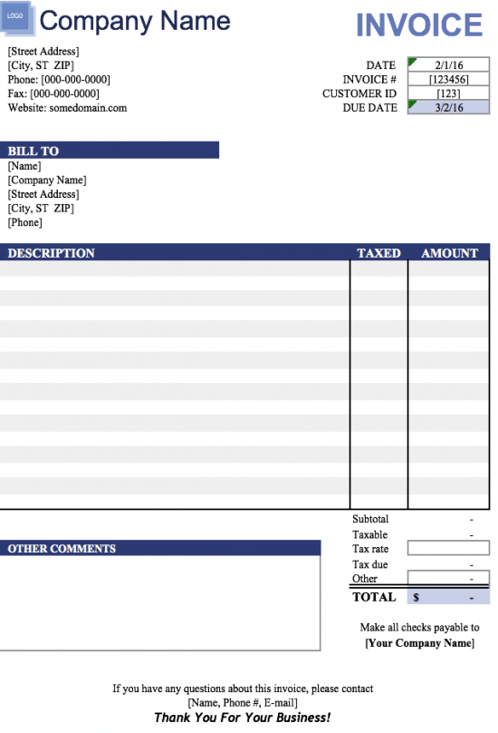 blank invoice template excel  Free Blank Invoice Templates in Microsoft Excel (.xlsx)