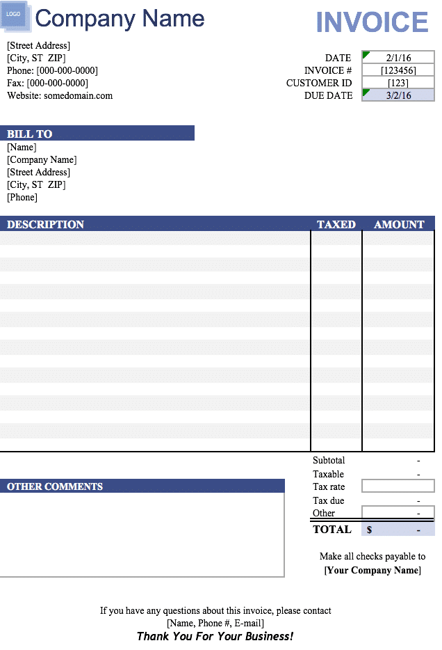 Free Free Blank Invoice Templates in Microsoft Excel ( xlsx)