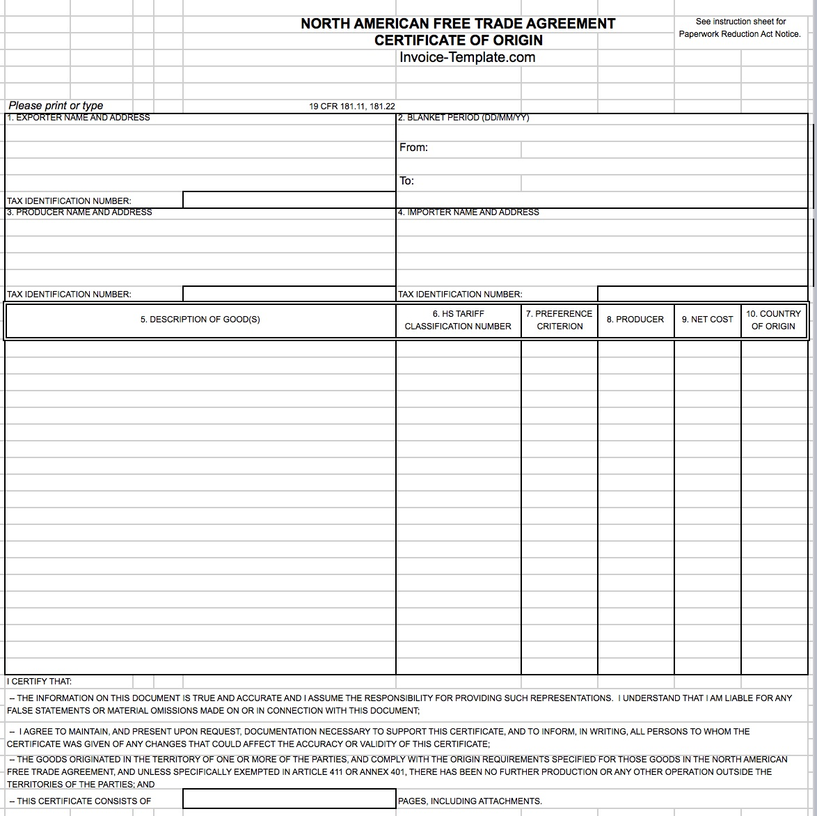 General Customs  Invoice Template Canada