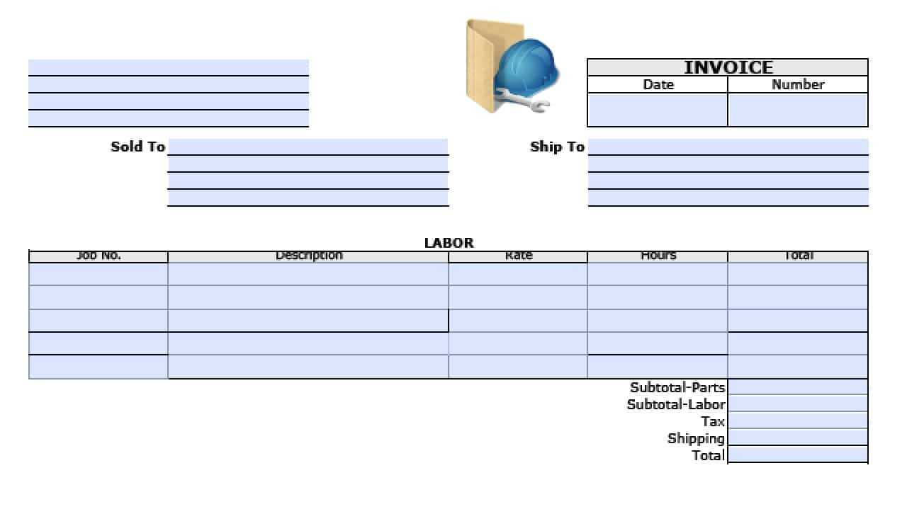Free General Labor Invoice Template Excel PDF Word Doc - Parts and labor invoice template free
