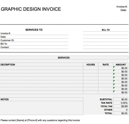 Microsoft Excel (.xls)  Graphic Design Invoices