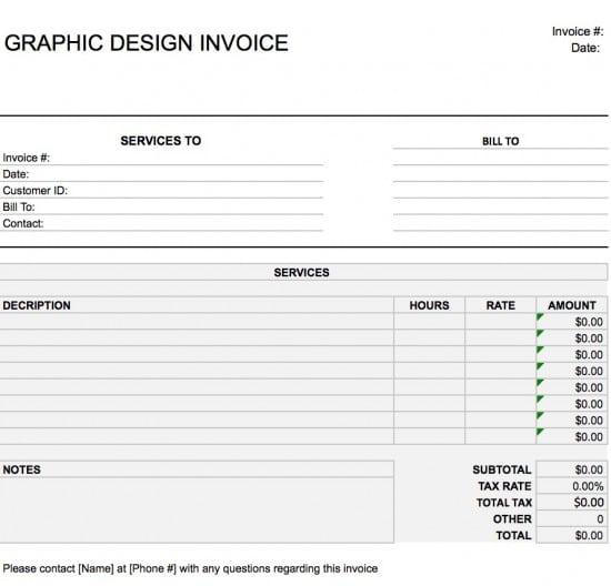 graphic design invoice template pdf  Free Graphic Design (Web) Invoice Template   Excel   PDF   Word (.doc)